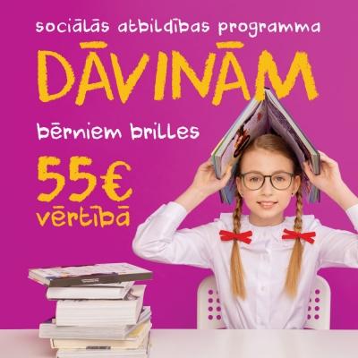 DĀVINĀM bērniem brilles 55€ vērtībā!